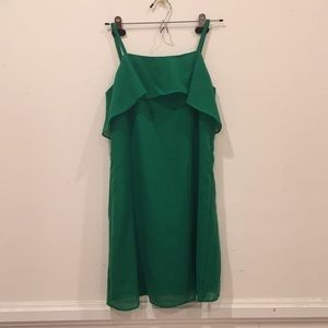 Green ruffle Alice + Olivia dress